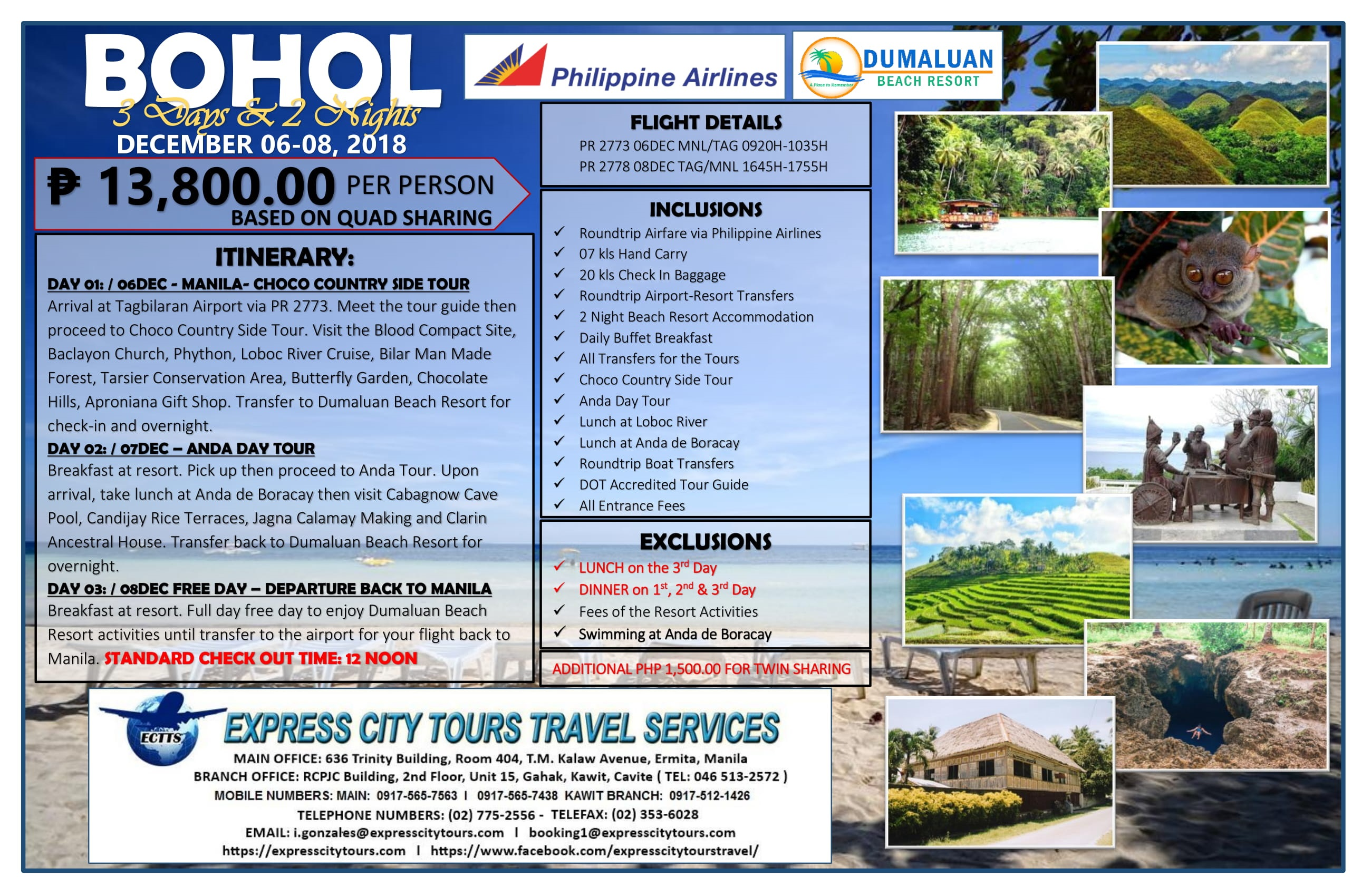 Bohol Package 2018